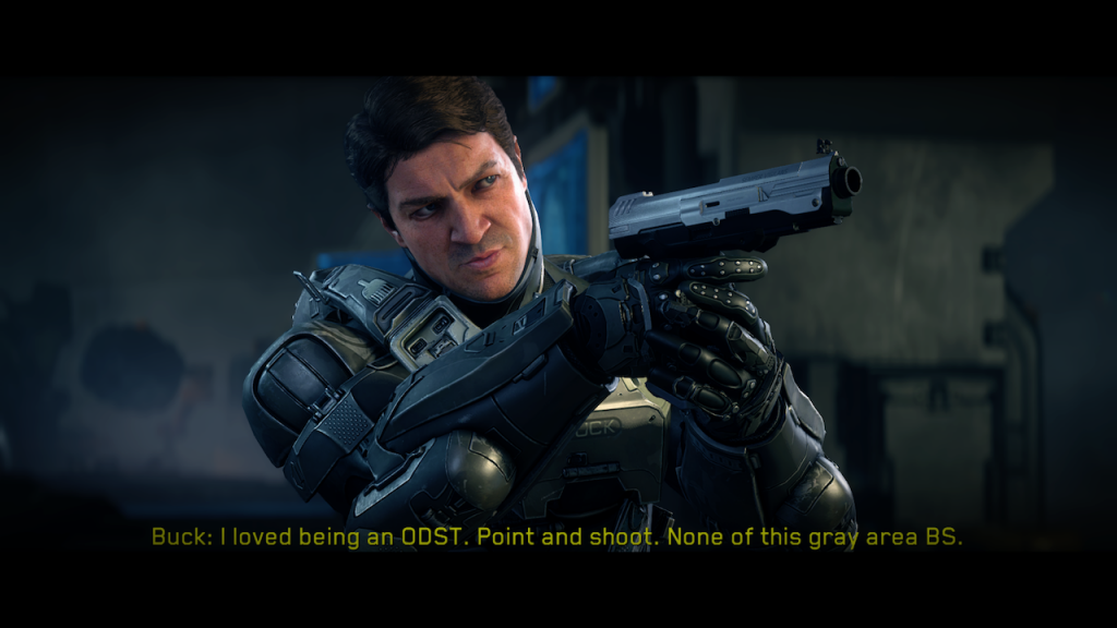 Nathan Fillion as Edward Buck in Halo 5: Guardians.