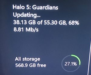 Screenshot showing download of 55Gb patch for Halo 5.