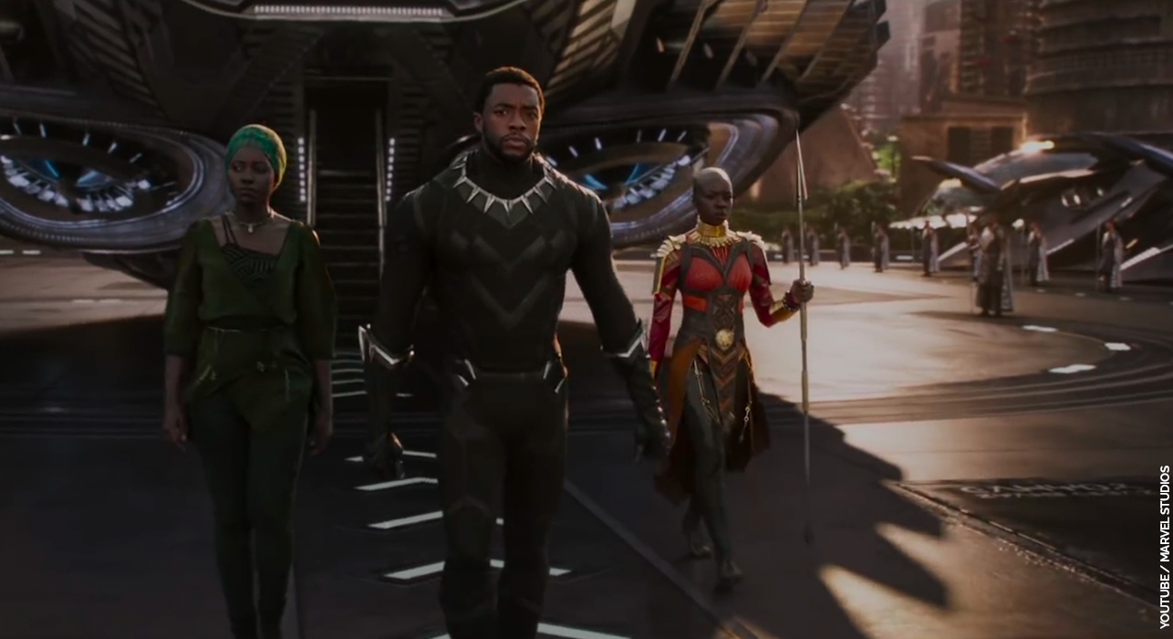 A scene from the first Black Panther trailer from Marvel Studios.